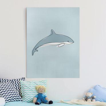 Leinwandbild - Delfin Line Art - Hochformat 4:3
