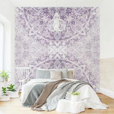 Fototapete - Mandala Aquarell Ornament violett - Fototapete Quadrat
