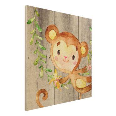 Holzbild - Aquarell Affe auf Holz - Quadrat 1:1