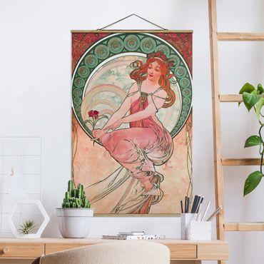 Stoffbild mit Posterleisten - Alfons Mucha - Vier Künste - Die Malerei - Hochformat 3:2