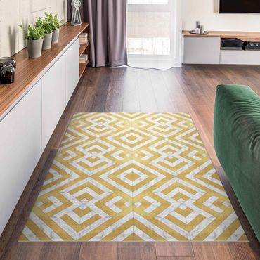 Vinyl-Teppich - Geometrischer Fliesenmix Art Deco Gold Marmor - Hochformat 2:3