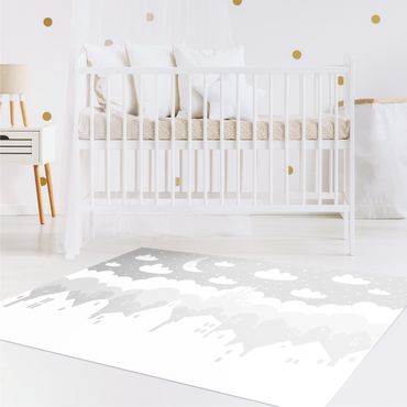 Vinyl-Teppich - Sternenhimmel mit Häusern und Mond in grau - Querformat 3:2
