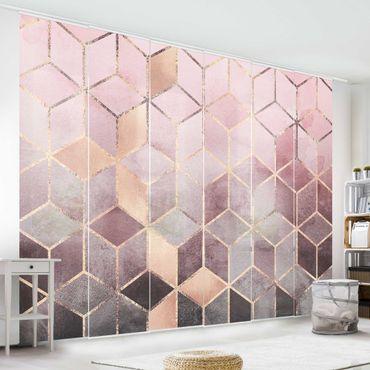Schiebegardinen Set - Elisabeth Fredriksson - Rosa Grau goldene Geometrie - 6 Flächenvorhänge