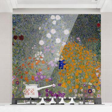 Spritzschutz Glas - Gustav Klimt - Bauerngarten - Quadrat 1:1
