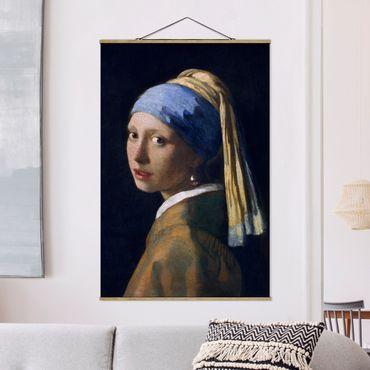 Stoffbild mit Posterleisten - Jan Vermeer van Delft - Das Mädchen mit dem Perlenohrgehänge - Hochformat 2:3