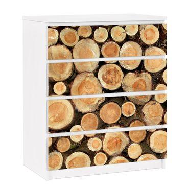 Möbelfolie für IKEA Malm Kommode - selbstklebende Folie No.YK18 Baumstämme