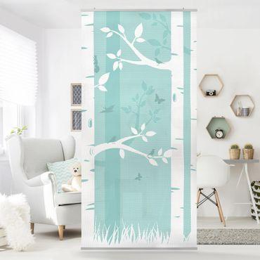 Raumteiler - Grüner Birkenwald mit Schmetterlingen und Vögel 250x120cm