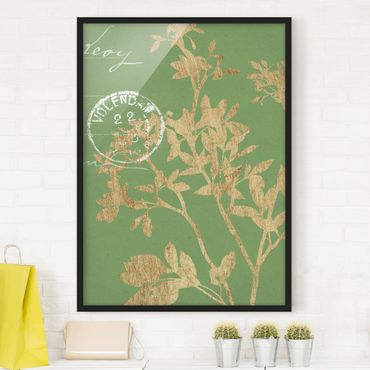 Bild mit Rahmen - Goldene Blätter auf Lind II - Hochformat 4:3