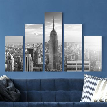Leinwandbild 5-teilig - Manhattan Skyline