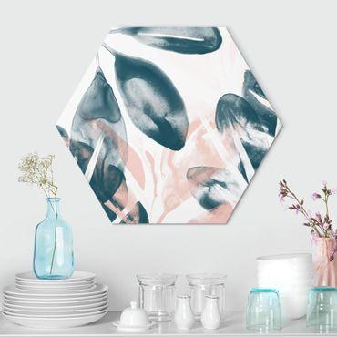 Hexagon Bild Alu-Dibond - Tropisches Orakel petrol I