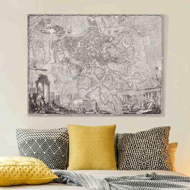 Leinwandbild - Vintage Stadtplan Rom - Querformat 3:4