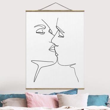 Stoffbild mit Posterleisten - Line Art Kuss Gesichter Schwarz Weiß - Hochformat 4:3