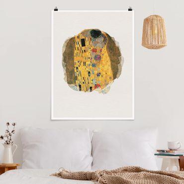 Poster - Wasserfarben - Gustav Klimt - Der Kuss - Hochformat 4:3