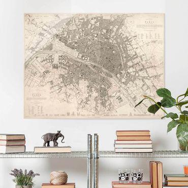 Glasbild - Vintage Stadtplan Paris - Querformat 3:4