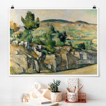 Poster - Paul Cézanne - Hügelige Landschaft - Querformat 3:4