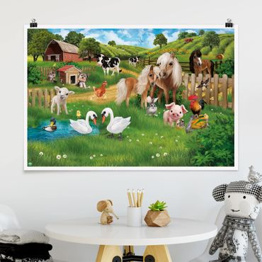 Poster Kinderzimmer - Animal Club International - Tiere auf dem Bauernhof - Querformat 2:3