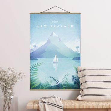 Stoffbild mit Posterleisten - Reiseposter - Neuseeland - Hochformat 2:3
