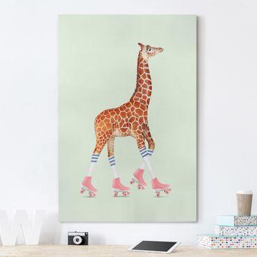 Leinwandbild - Jonas Loose - Giraffe mit Rollschuhen - Hochformat 3:2