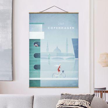 Stoffbild mit Posterleisten - Reiseposter - Kopenhagen - Hochformat 3:2
