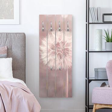 Wandgarderobe Holz - Pusteblume Bokeh rosa - Haken chrom Hochformat
