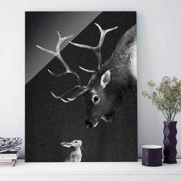 Glasbild - Illustration Hirsch und Hase Schwarz Weiß Malerei - Hochformat 4:3