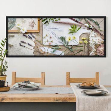Bild mit Rahmen - Blumen und Gartenkräuter Vintage - Panorama Querformat