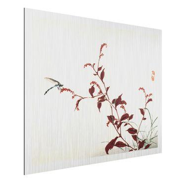 Aluminium Print gebürstet - Asiatische Vintage Zeichnung Roter Zweig mit Libelle - Querformat 3:4