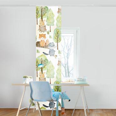 Schiebegardinen Set - Fuchs und Bär mit Bäumen - 6 Flächenvorhänge