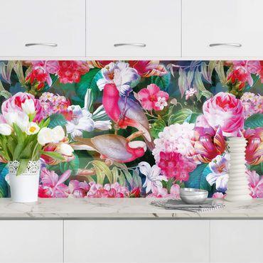 Küchenrückwand - Bunte Tropische Blumen mit Vögeln Pink