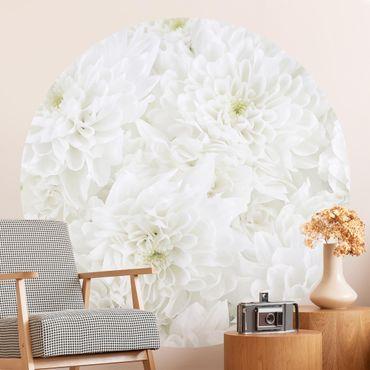 Runde Tapete selbstklebend - Dahlien Blumenmeer weiß