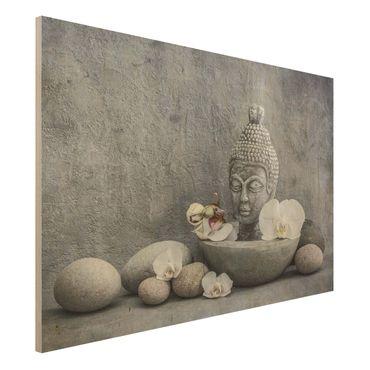Holzbild - Zen Buddha, Orchideen und Steine - Querformat 2:3