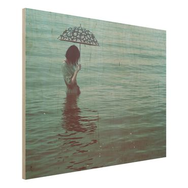Holzbild - Spaziergang im Wasser - Querformat 3:4