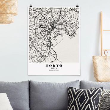 Poster - Stadtplan Tokyo - Klassik - Hochformat 3:4