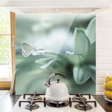Glas Spritzschutz - Schmetterling und Tautropfen in Pastellgrün - Quadrat - 1:1