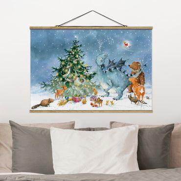 Stoffbild mit Posterleisten - Wassili Waschbär - Das Weihnachtsfest - Querformat 3:2