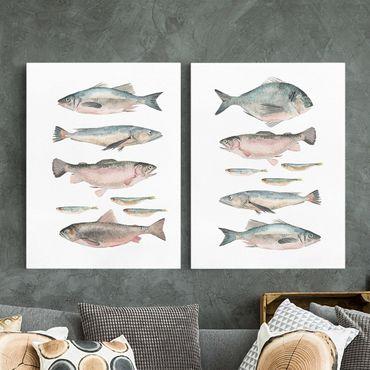 Leinwandbild 2-teilig - Fische in Aquarell Set I - Hoch 4:3