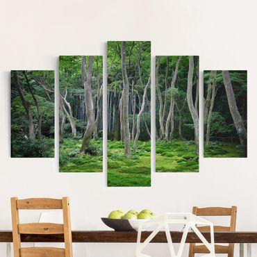 Leinwandbild 5-teilig - Japanischer Wald