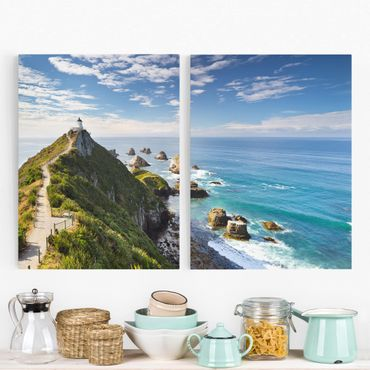 Leinwandbild 2-teilig - Nugget Point Leuchtturm und Meer Neuseeland - Hoch 3:4