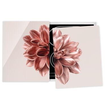 Herdabdeckplatte Glas - Dahlie Blume Rosegold Metallic - 52x80cm