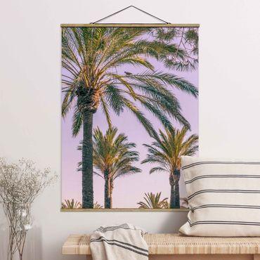 Stoffbild mit Posterleisten - Palmen im Sonnenuntergang - Hochformat 4:3