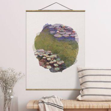 Stoffbild mit Posterleisten - Wasserfarben - Claude Monet - Seerosen - Hochformat 3:4