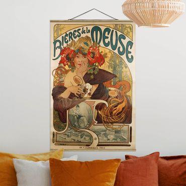 Stoffbild mit Posterleisten - Alfons Mucha - Plakat für La Meuse Bier - Hochformat 3:2