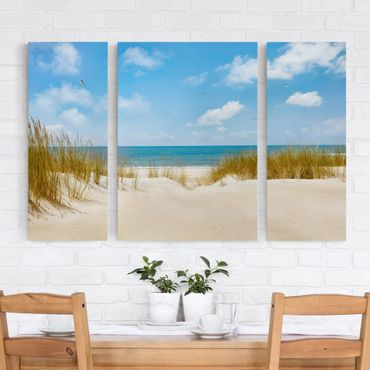 Leinwandbild 3-teilig - Strand an der Nordsee - Triptychon