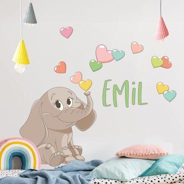 Wandtattoo mit Wunschtext - Regenbogen Elefant mit bunten Herzen