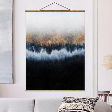 Stoffbild mit Posterleisten - Elisabeth Fredriksson - Goldener Horizont - Hochformat 4:3