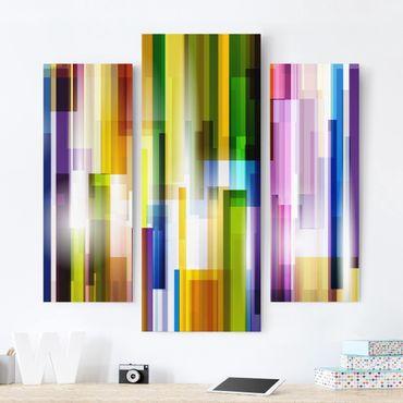 Leinwandbild 3-teilig - Rainbow Cubes - Galerie Triptychon