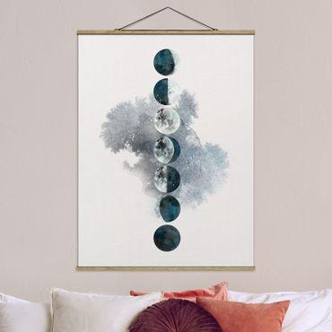 Stoffbild mit Posterleisten - Die Mondphasen - Hochformat 4:3