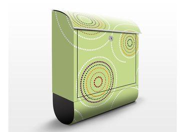 Briefkasten mit Zeitungsfach - Aborigines Kringel Grün - Punktemuster