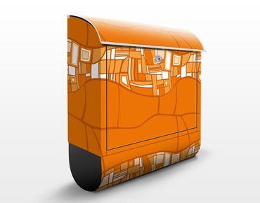 Design Briefkasten Abstraktes Ornament Orange - Briefkasten Orange