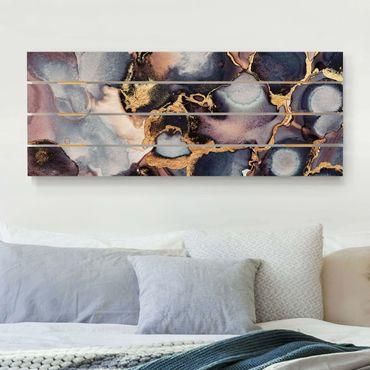 Holzbild - Elisabeth Fredriksson - Marmor Aquarell mit Gold - Querformat 2:5